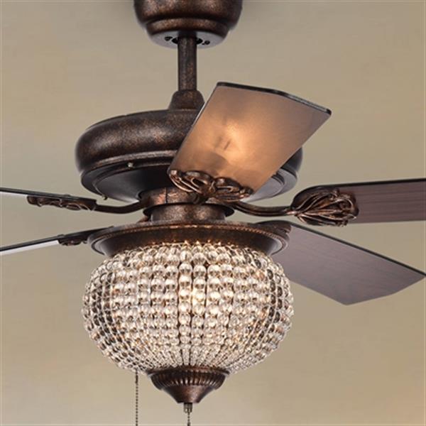 Warehouse of Tiffany Priteen 52-in Bronze 3-Light Ceiling Fan