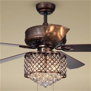 """Ventilateur de plafond Pshita à 3 lumières, 52"""", bronze"""
