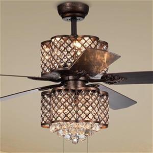 """Ventilateur de plafond Quincy à 6 lumières, 52"""", bronze"""
