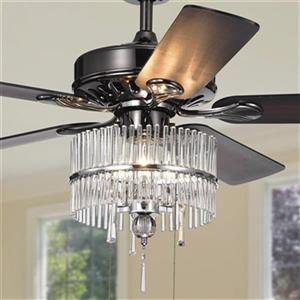 Warehouse of Tiffany Bilhah 52-in Black 3-Light Ceiling Fan