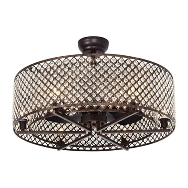 "Ventilateur de plafond Miyaka à 6 lumières, 29"", bronze"