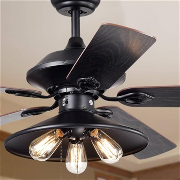 """Ventilateur de plafond Upille à 3 lumières, 52"""", noir mat"""