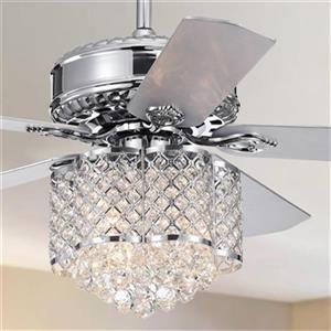 """Ventilateur de plafond Deidor à 3 lumières, 52"""", chrome"""