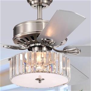Warehouse of Tiffany Kimalex 52-in Nickel 3-Light Ceiling Fan