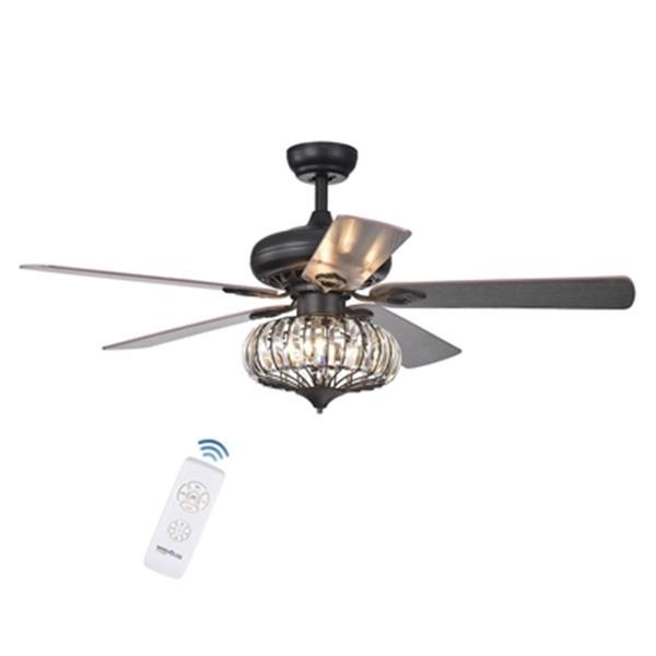 """Ventilateur de plafond Chrysaor à 3 lumières, 52"""", bronze"""