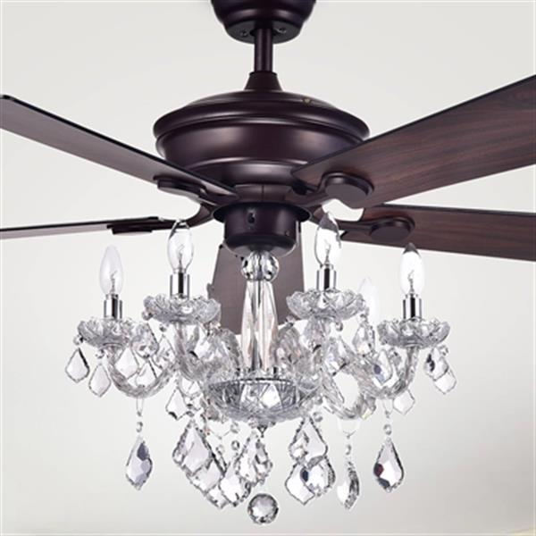 Warehouse Of Tiffany Havorand 52 In Bronze 5 Light Ceiling Fan Cfl 8213remo Ab Rona