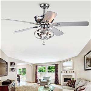 """Ventilateur de plafond Tatiana à 3 lumières, 52"""", chrome"""