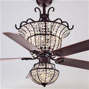 Warehouse of Tiffany Charla 52-in Bronze 4-Light Ceiling Fan