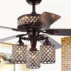 Warehouse of Tiffany Pristil 52-in Bronze 6-Light Ceiling Fan
