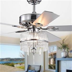 Warehouse of Tiffany Wyllow DeBase 52-in Chrome 3-Light Celing Fan with Crystal Flute Shade