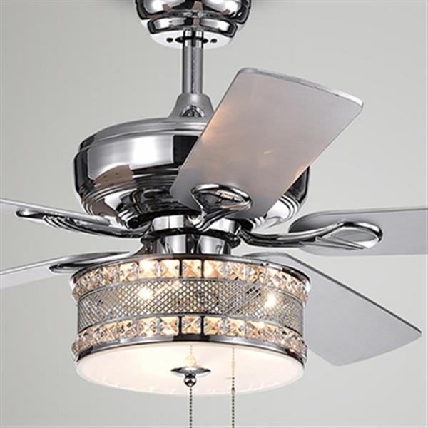 Warehouse of Tiffany Davrin 52-in Chrome 3-Light Ceiling Fan