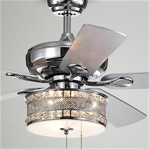 Warehouse of Tiffany Davrin 52-in Chrome 3-Light Ceiling Fan
