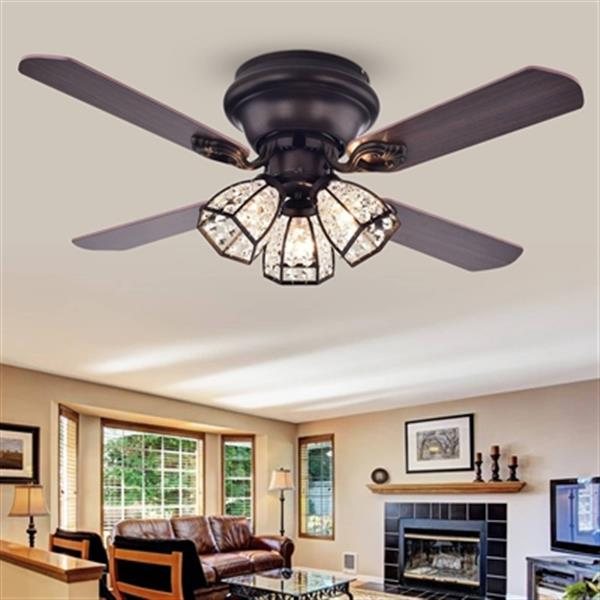 """Ventilateur de plafond, 3 lumières, 4 pales, 42"""", bronze"""
