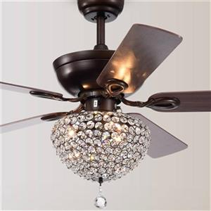 Warehouse of Tiffany Taliko 52-in Bronze 3-Light Ceiling Fan with Crystal Shade