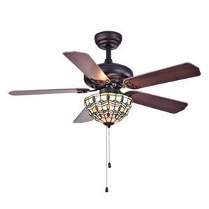 Warehouse of Tiffany Doretta 42-in Warm Brown 3-Light Ceiling Fan