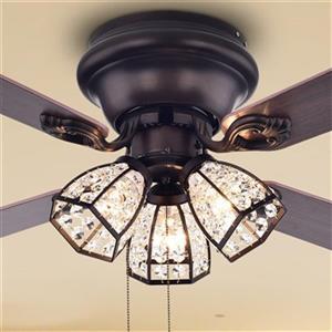 "Ventilateur de plafond Tarudor à 3 lumières, 42"", bronze"