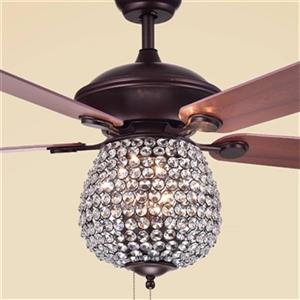 Warehouse of Tiffany Claudric 52-in 3-Light Ceiling Fan with Crystal Shade