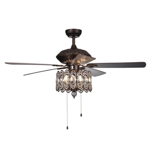 Warehouse of Tiffany Mariposa 52-in Rustic Bronze 3-Light Ceiling Fan
