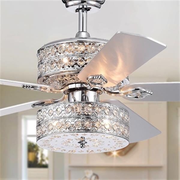 """Ventilateur de plafond, 6 lumières, 52"""", chrome"""
