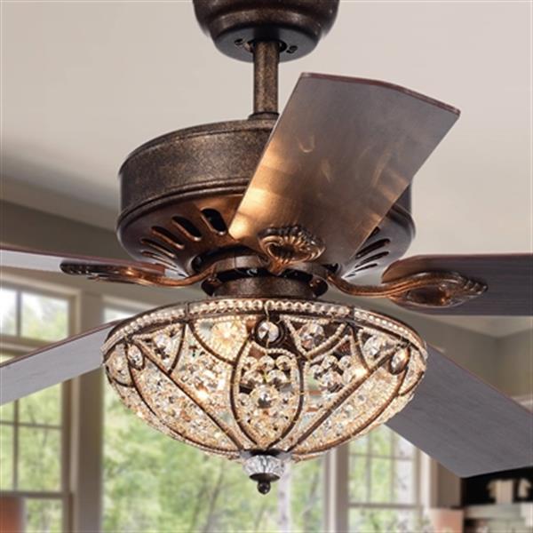 Ventilateur de plafond Empire, 3 lumières, 5 pales, bronze