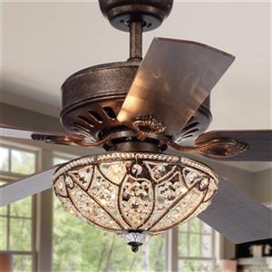 Warehouse of Tiffany Empire 52-in Antique Speckled Bronze 3-Light Ceiling Fan