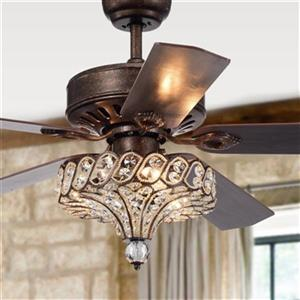 Warehouse of Tiffany Pilette 52-Inch Ceiling Fan with Crystal Shade