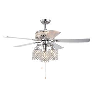 """Ventilateur de plafond Treista à 6 lumières, 52"""", chrome"""