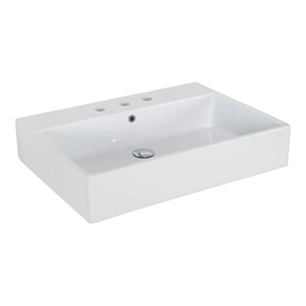 WS Bath Collections Simple 27.60-in x 19.70-in White Ceramic Rectangular Wall Mount/Vessel Sink
