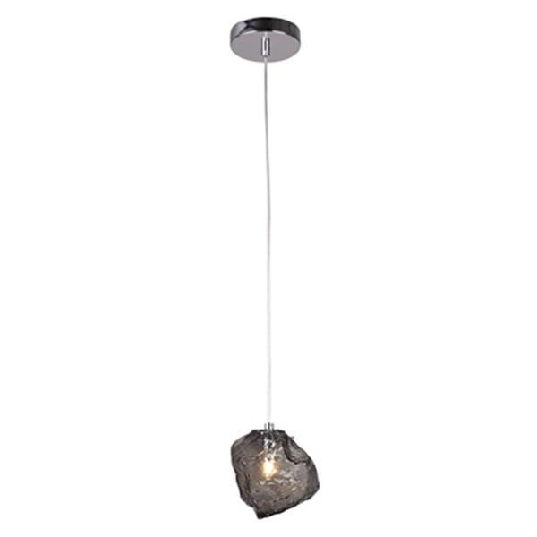 Design Living 6-in Smoke Distorted Glass Single Mini Pendant Light