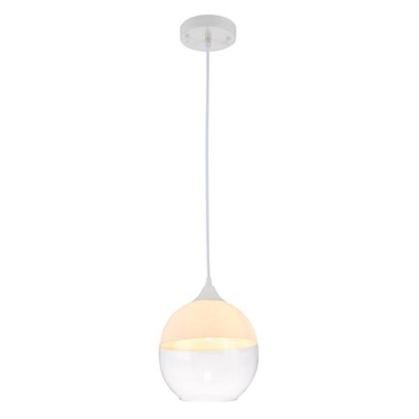 Design Living 7-in Matte White Single Mini Pendant Light