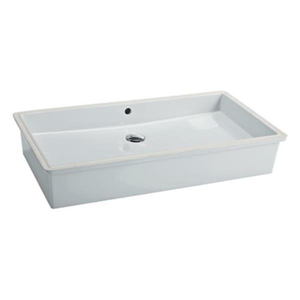 WS Bath Collections City 33.80-in x 18.30-in White Rectangular Undermount Sink