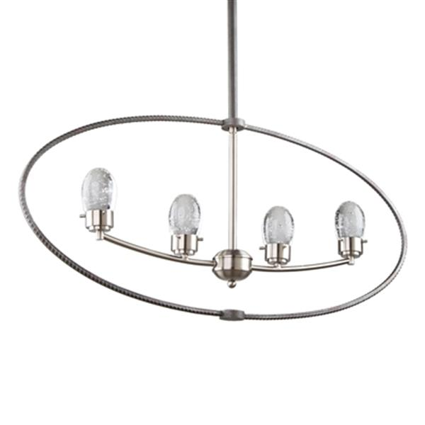 Artcraft Lighting Kingsford 2.75-in Slate/Brushed Nickel 4-Light LED chandelier