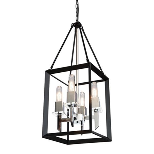 Artcraft Lighting Vineyard 12-in Black/Chrome 4-Light Chandelier
