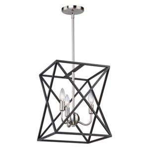 Artcraft Lighting Elements 12-in Black/Polished Nickel 4-Light Chandelier