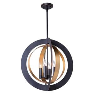 Artcraft Lighting Capri 21-in Dark Bronze/Satin Brass 4-Light Chandelier