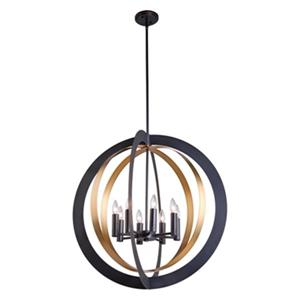Artcraft Lighting Capri 30-in Dark Bronze/Satin Brass 8-Light Chandelier
