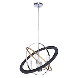 Artcraft Lighting Cosmic 21-in Dark Bronze/Chrome/Satin Brass 4-Light Chandelier
