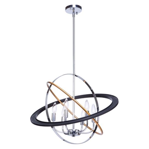 """Luminaire suspendu Cosmic, Bronze, chrome et laiton, 24"""""""