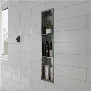 ALFI Brand 8-in x 36-in Stainless Steel Vertical Triple Shelf Bath & Shower Caddie