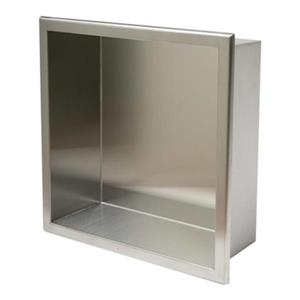 ALFI Brand 12-in x 12-in Brushed Stainless Steel Square Single Shelf Bath Shower Niche