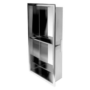 ALFI Brand 12-in x 24-in Stainless Steel Vertical Double Shelf Bath Shower Niche