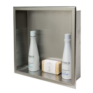 ALFI Brand 16-in x 16-in Brushed Stainless Steel Square Single Shelf Bath Shower Niche