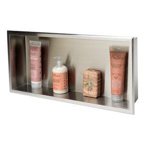 ALFI Brand 24-in x 12-in Brushed Stainless Steel Horizontal Single Shelf Bath Shower Niche