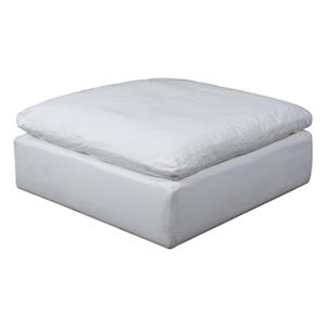 Sunset Trading Cloud Puff White Performance Fabric Slipcover for Square Ottoman