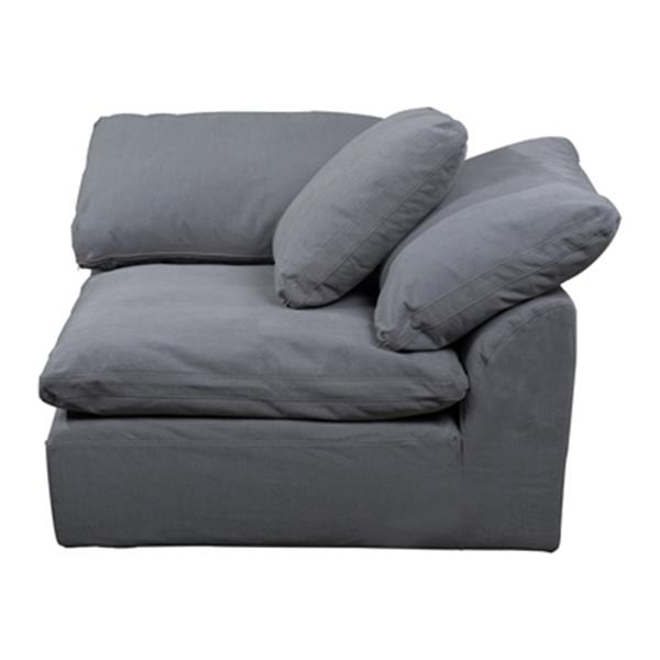 Sunset Trading Cloud Puff Gray Performance Fabric Slipcover for Sofa Sectional Modular Corner Arm Chair