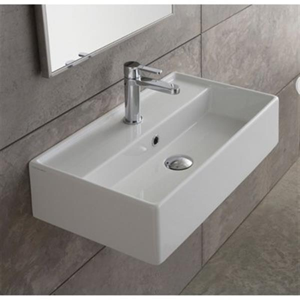 Nameeks Teorema 16.14-in x 13.78-in White Ceramic Rectangular Wall Mount/Vessel Sink
