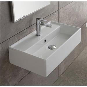 Nameeks Teorema 23.62-in x13.39-in White Ceramic Rectangular Wall Mount/Vessel Sink