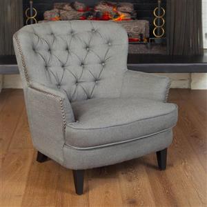 Best Selling Home Decor Tafton Grey Linen Club Chair