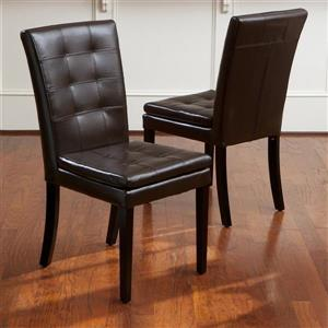 Best Selling Home Decor Set of 2 Crayton Chocolate Brown Side Chairs