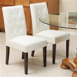 Chaises de cuisine Gentry, cuir reconstitué blanc, ens. de 2